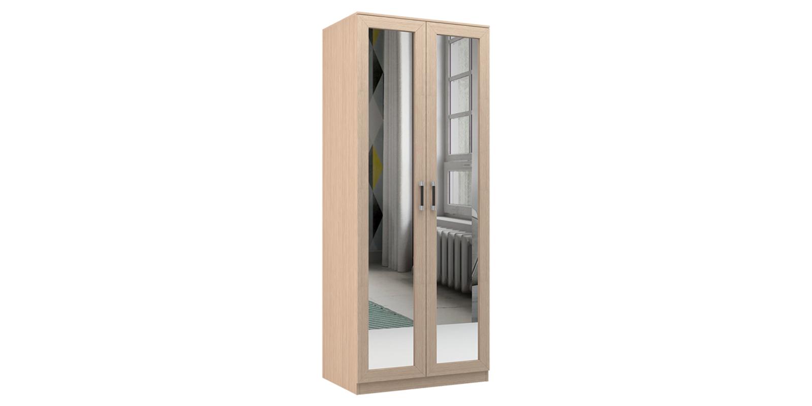 Шкаф распашной двухдверный Дельта (дуб белфорт/зеркало)