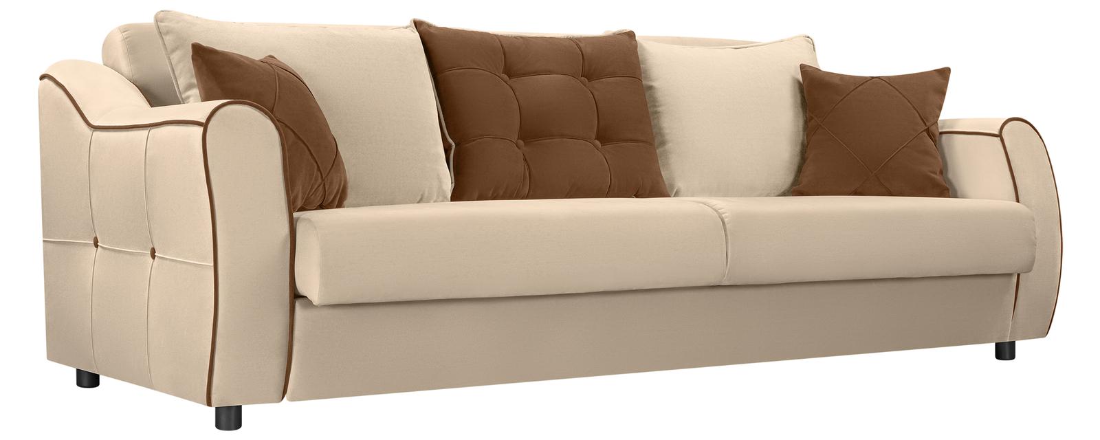 Диван тканевый прямой Флэтфорд Velure бежевый/коричневый (Велюр) Флэтфорд