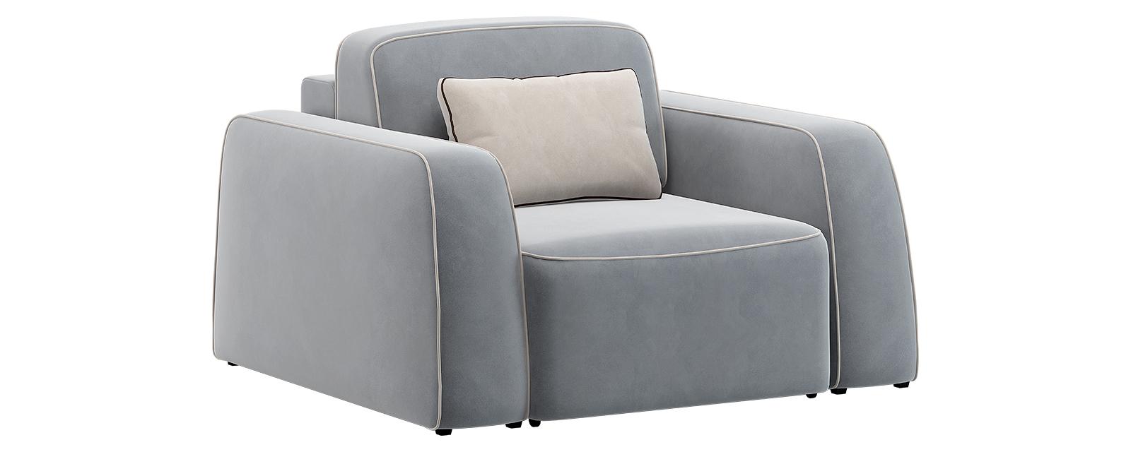 Кресло тканевое Портленд 80 см Velutto серый/бежевый (Велюр)