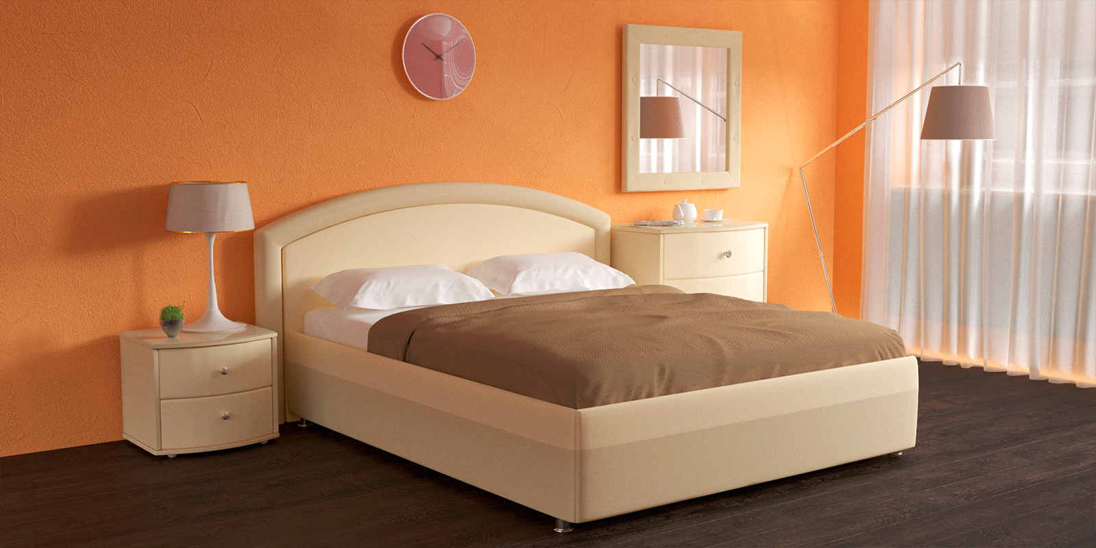 Мягкая кровать 200х160 Малибу вариант №8 с ортопедическим основанием (Бежевый)