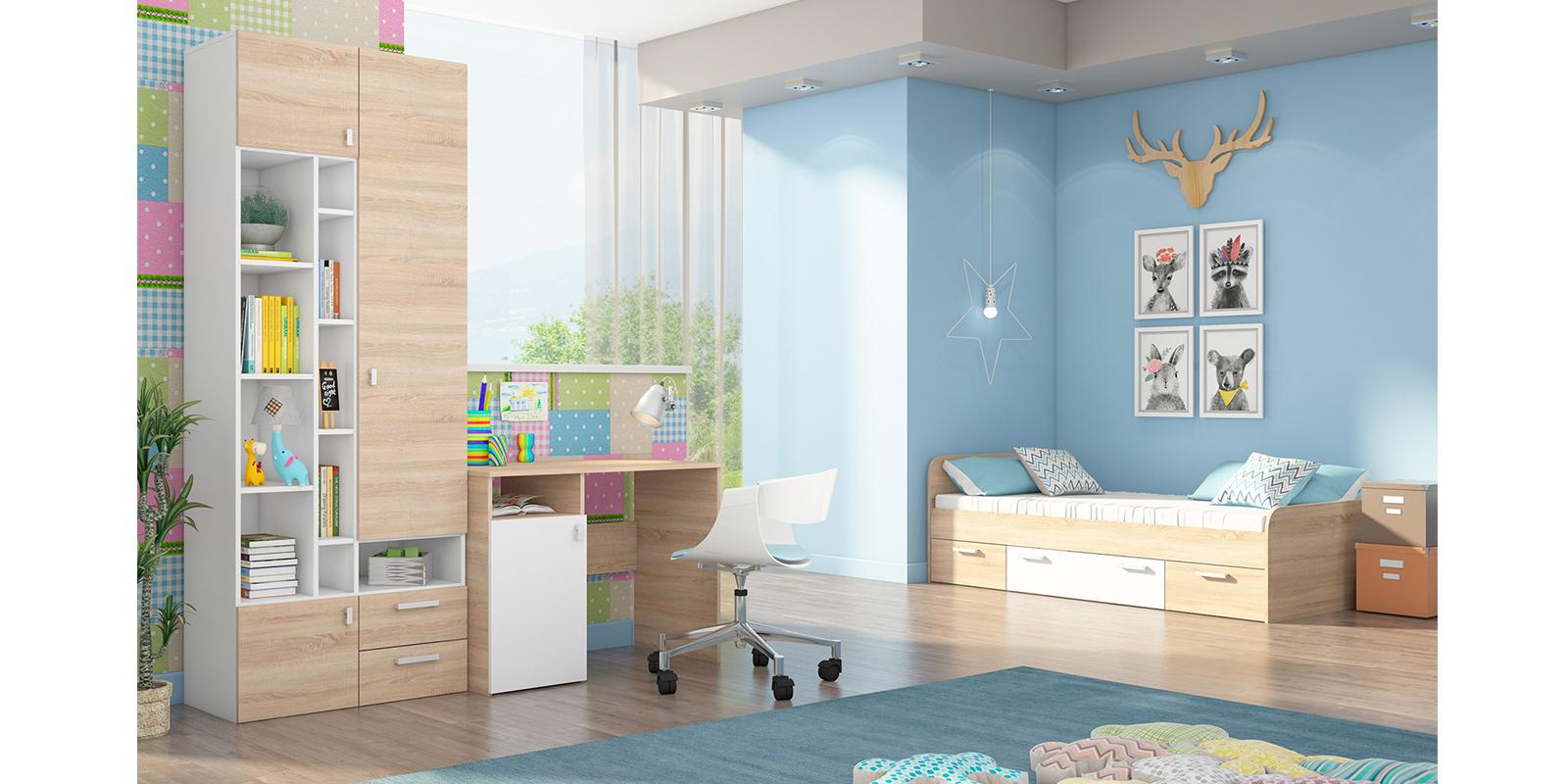 Модульная детская Лакки вариант №1 (дуб сонома/белый) от HomeMe.ru