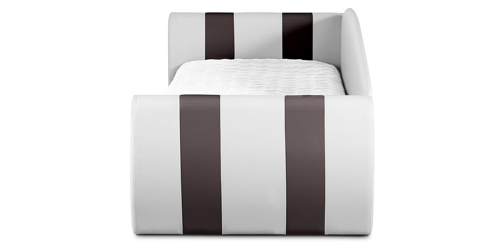 Мягкая кровать 190х90 Монако угол левый (белый/шоколад) от HomeMe.ru