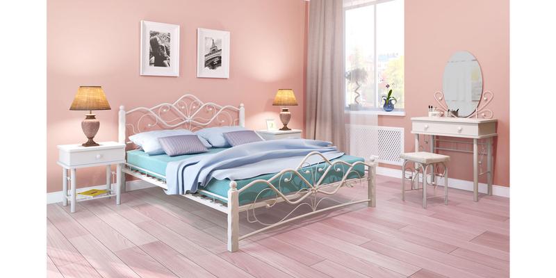 Металлическая кровать 140х200 Венера вариант №1 с ортопедическим основанием (белый/белый)