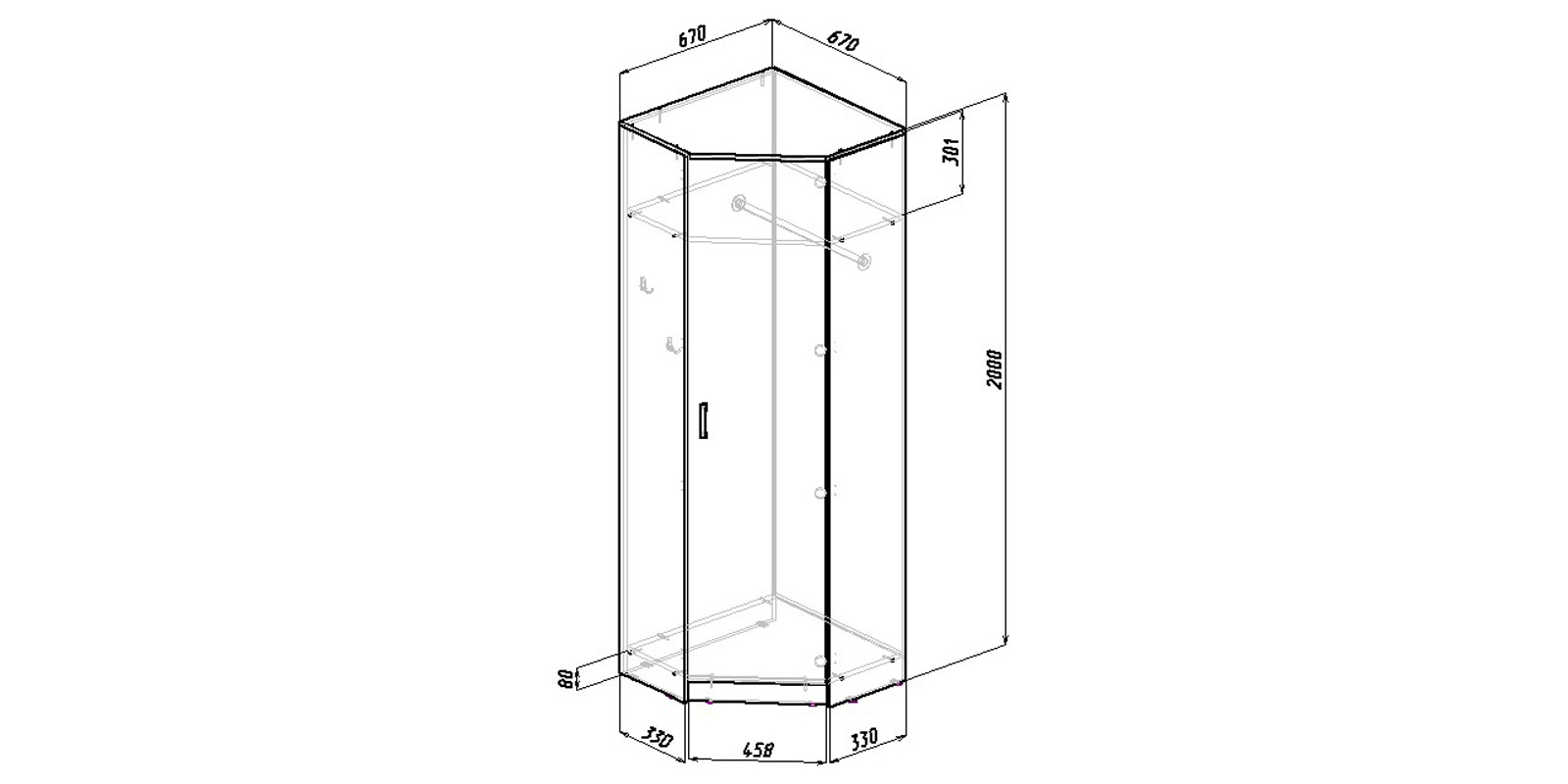 Шкаф распашной угловой Хельга вариант №1 (венге)