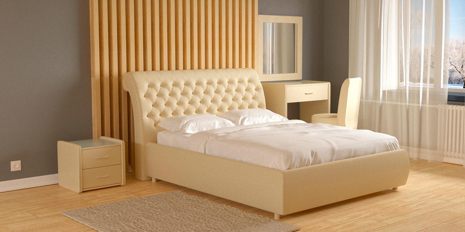 Мягкая кровать 200х160 Малибу вариант №6 с ортопедическим основанием (Бежевый)