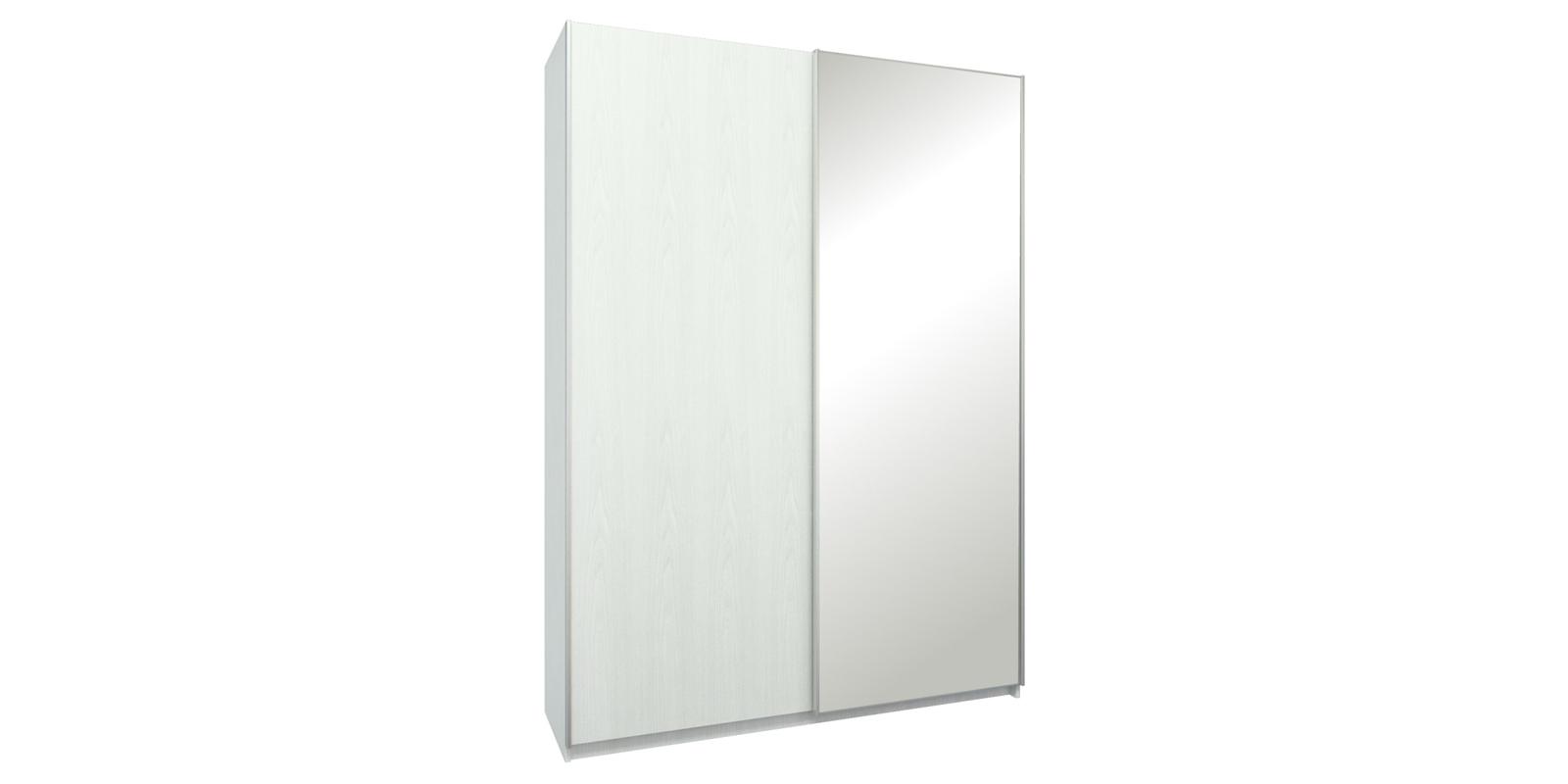 Шкаф-купе двухдверный Лофт 165 см (белый/зеркало)