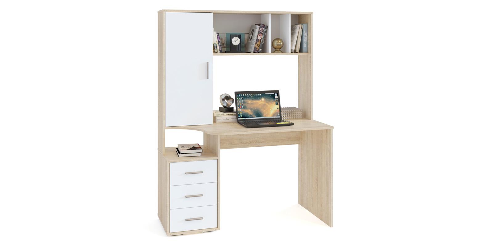 Стол компьютерный Мадлен (дуб сонома/белый)