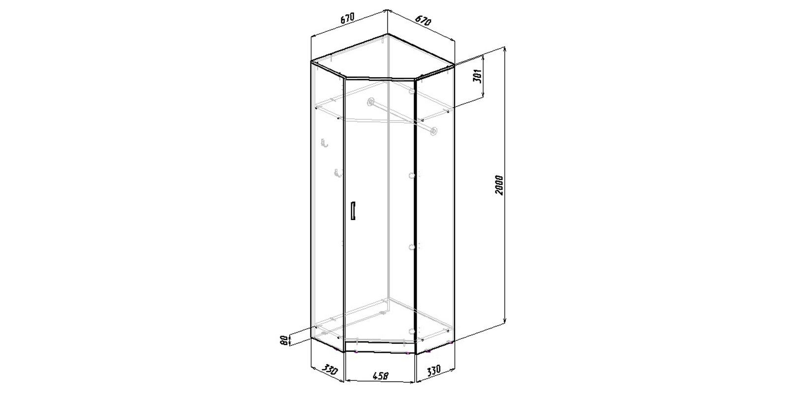 Шкаф распашной угловой Хельга вариант №1 (дуб сонома)