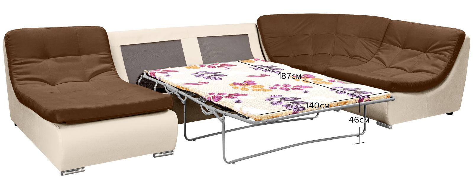 Модульный диван Лос-Анджелес Velure коричневый Вариант 2 (Велюр + Экокожа) от HomeMe.ru