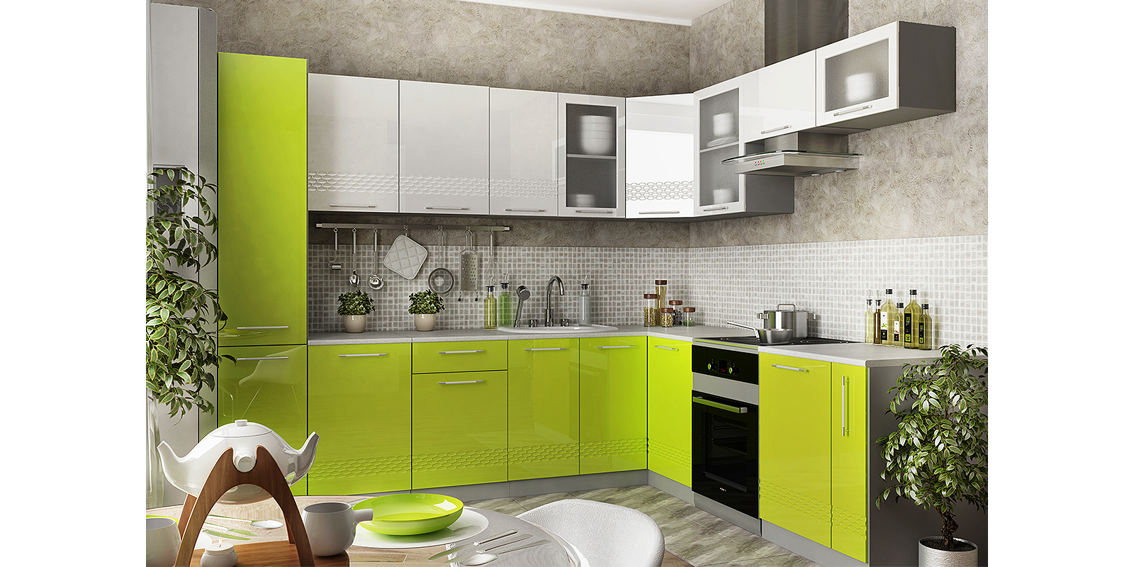 Модульная кухня Тиара вариант №3 (серый/лайм глянец) от HomeMe.ru
