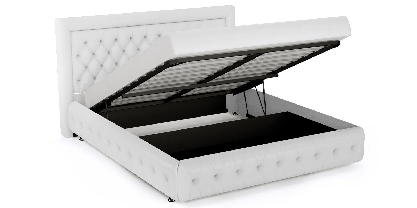 Мягкая кровать 200х160 Малибу вариант №7 с подъемным механизмом (Белый)