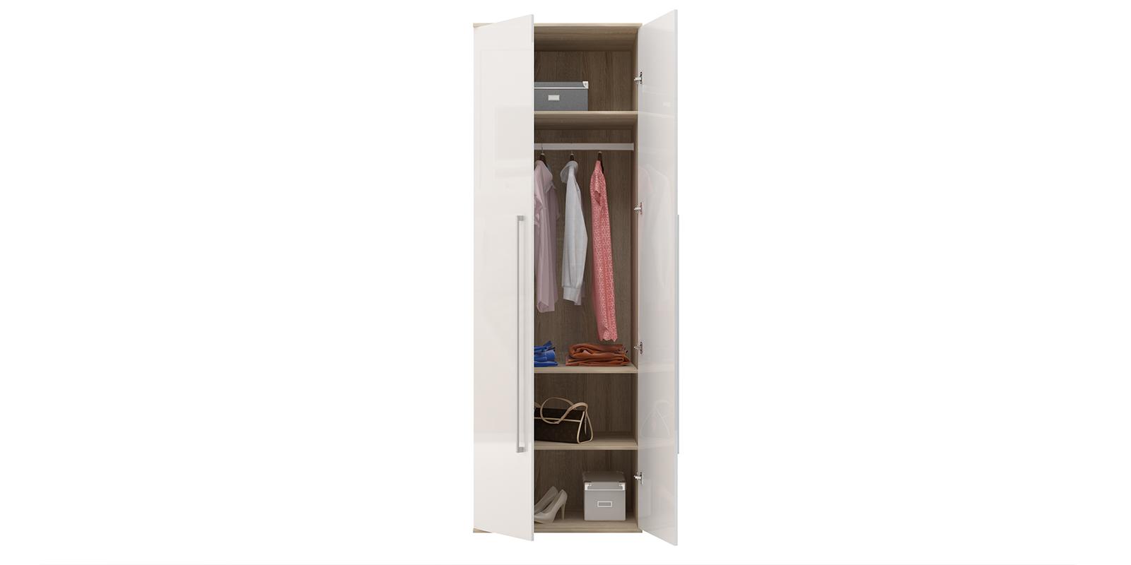 Шкаф распашной двухдверный Бали вариант №1 (белый глянец/дуб сонома) от HomeMe.ru