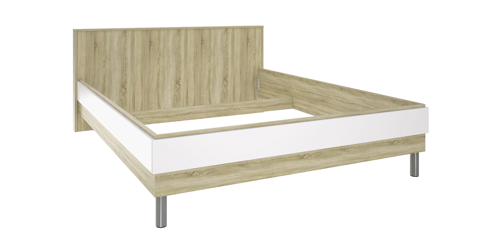 Кровать каркасная 200х160 Бали без подъемного механизма (Белый глянец/Дуб сонома) от HomeMe.ru