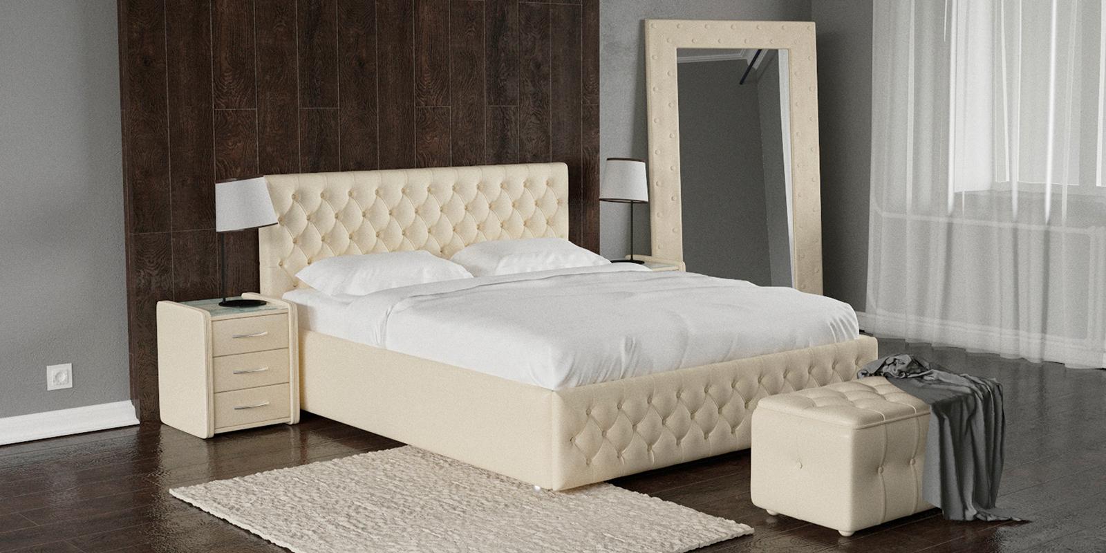 Купить Мягкая кровать 200х160 Малибу вариант №4 с ортопедическим основанием (Бежевый), HomeMe