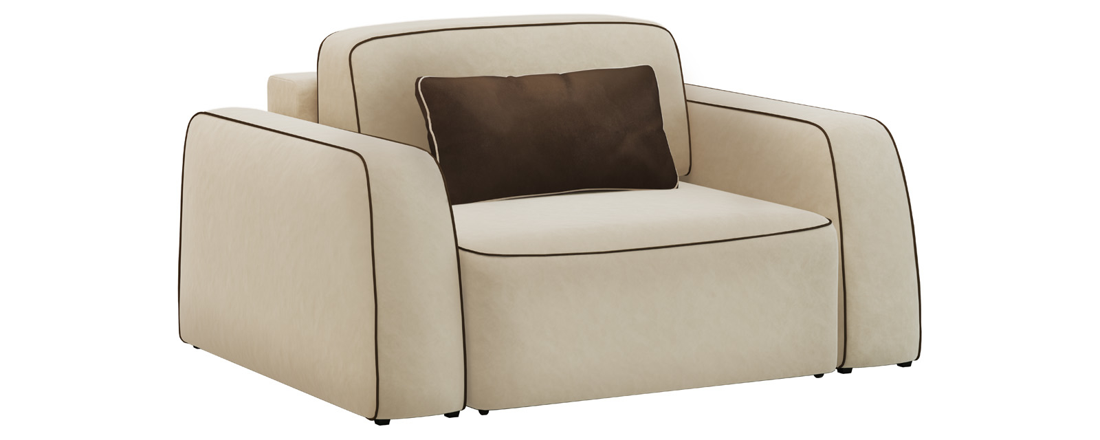 Кресло тканевое Портленд 100 см Velure бежевый/темно-коричневый (Велюр)
