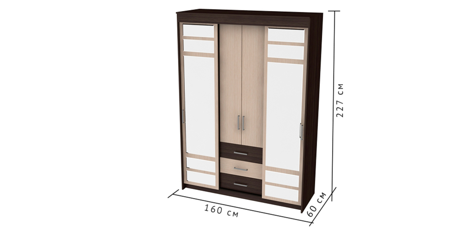 Шкаф распашной 4-х дверный Медея (венге/дуб)