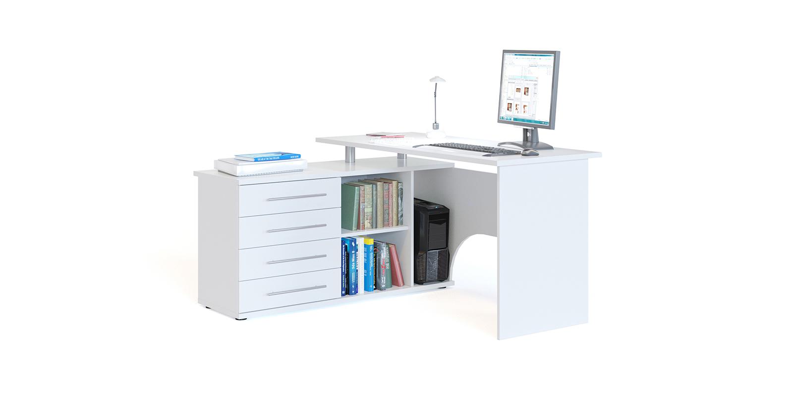 Стол компьютерный Сноу левый угол (белый) Сноу