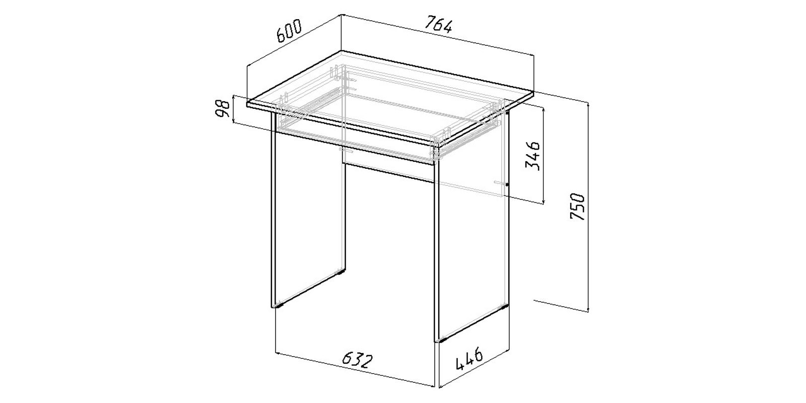 Письменный стол Харви вариант №3 (белый)