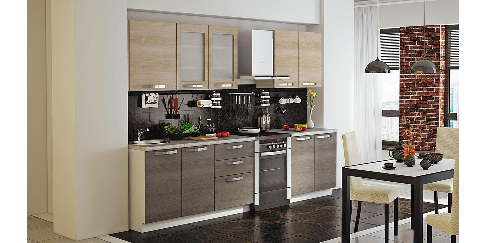 Кухонный гарнитур Миранда 300 см (белый глянец/серый)