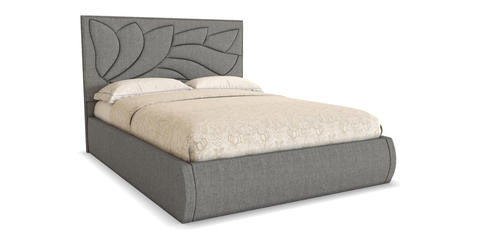 Мягкая кровать 200х180 Флора с ортопедическим основанием (серый)