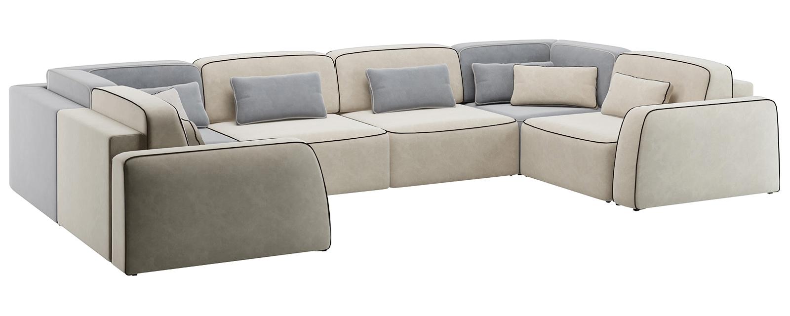 Модульный диван Портленд П-образный Вариант №2 Velutto серый/бежевый (Велюр)