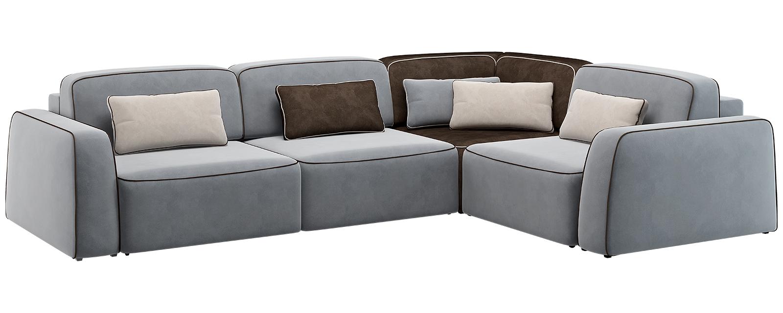 Модульный диван Портленд 350 см Вариант №3 Velutto серый/тёмно-коричневый (Велюр)