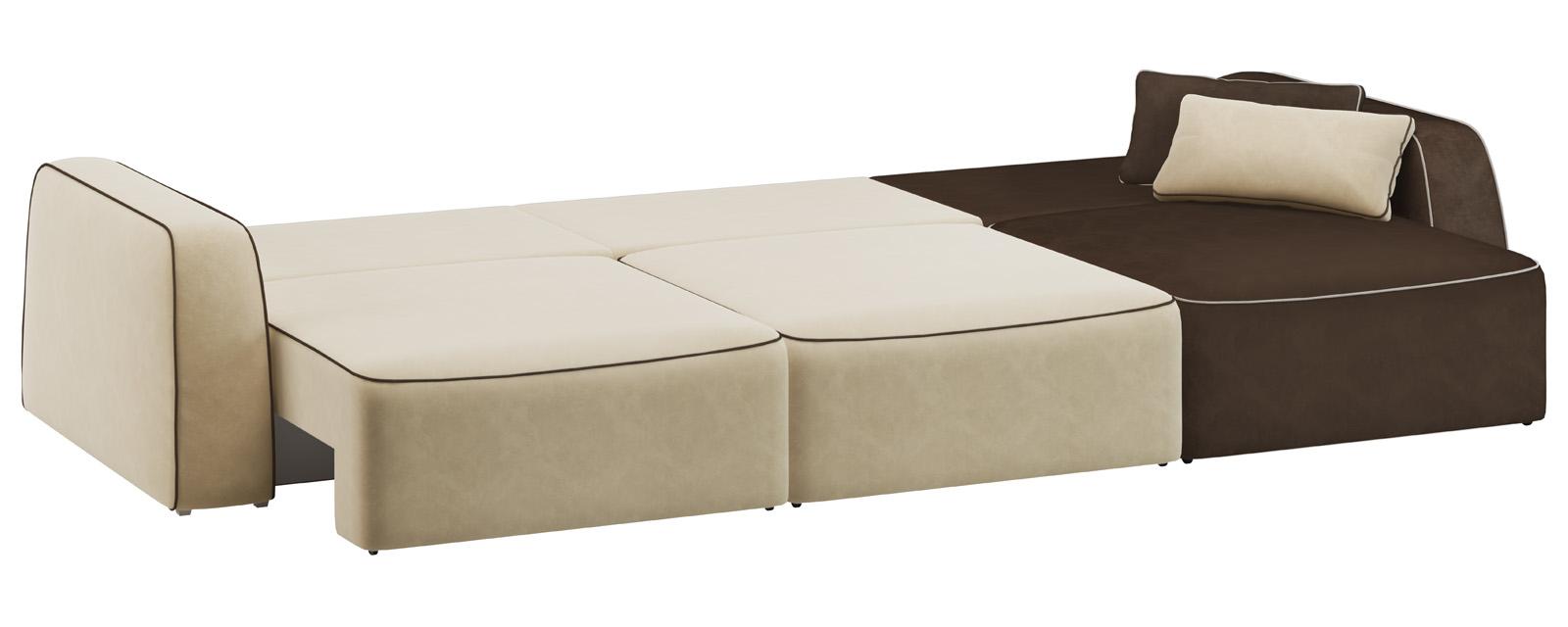 Модульный диван Портленд 300 см Вариант №3 Velure бежевый/темно-коричневый (Велюр) от HomeMe.ru