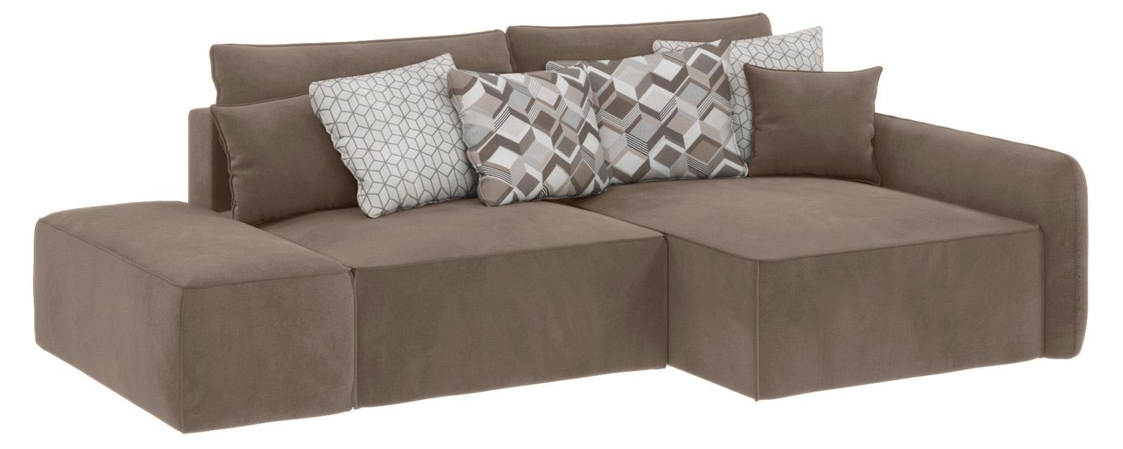 Модульный диван Портленд вариант №3 Soft темно-бежевый (Вел-флок, правый)