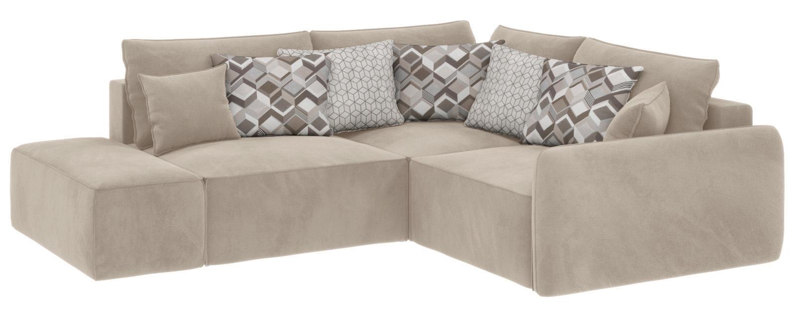 Модульный диван Портленд вариант №1 Soft светло-бежевый (Вел-флок, правый)