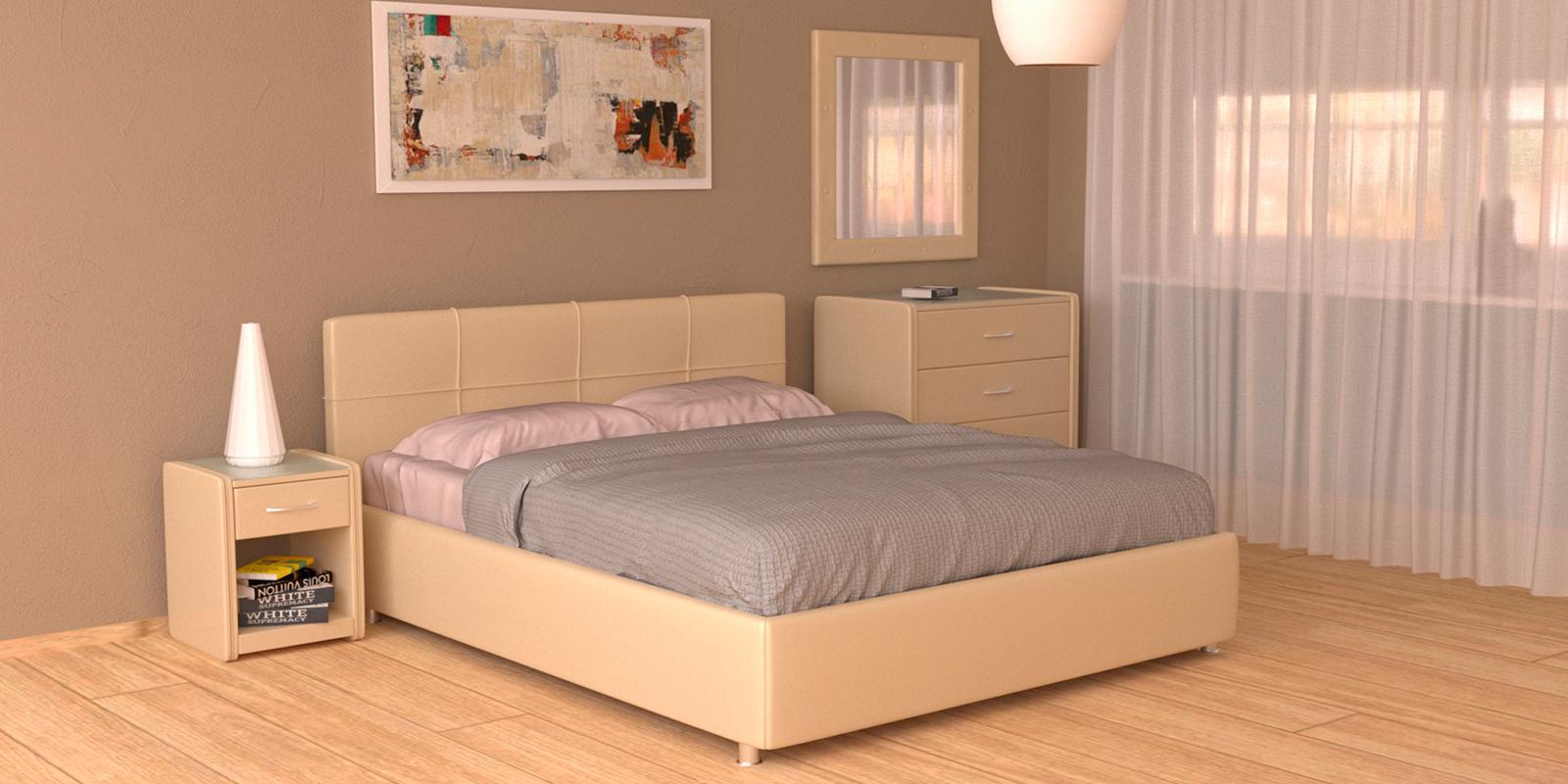 Купить Мягкая кровать 200х160 Малибу вариант №10 с ортопедическим основанием (Бежевый), HomeMe