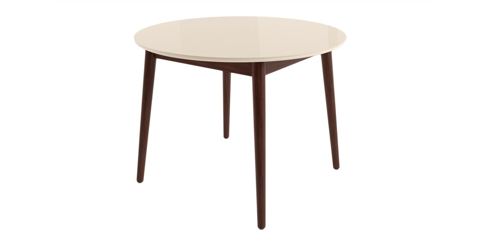 Купить Обеденный стол Бейз круглый (кремовый/темное дерево), HomeMe