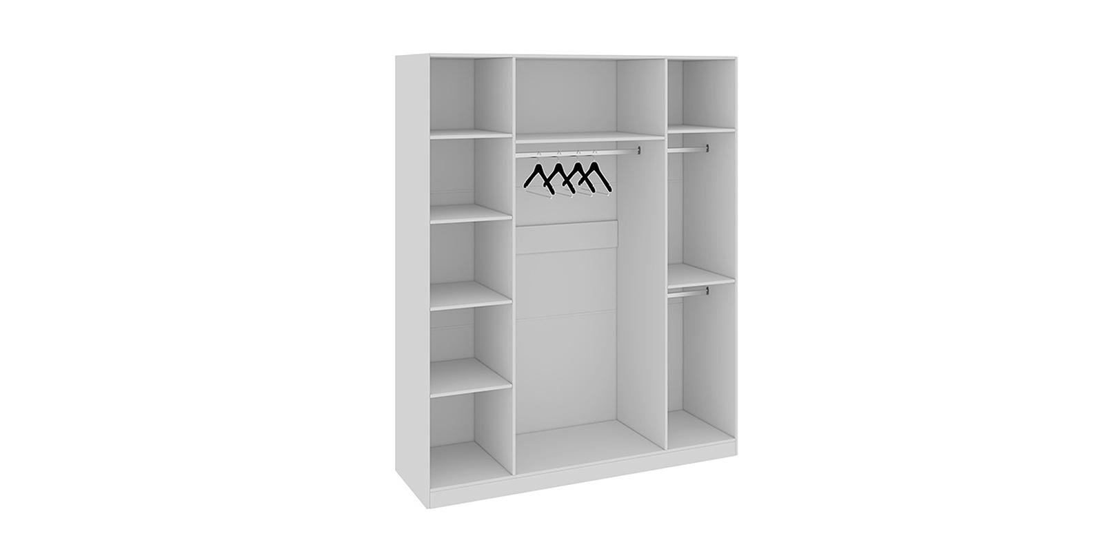 Шкаф распашной 4-х дверный Давос (белый матовый/зеркало)