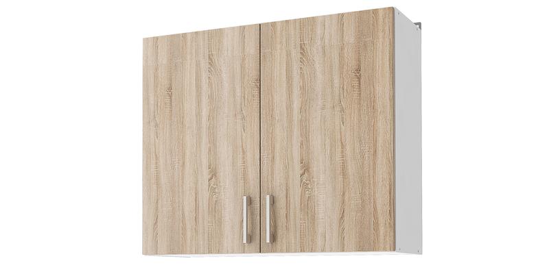 Кухонный навесной шкаф Женева 80 см (белый/дуб сонома)
