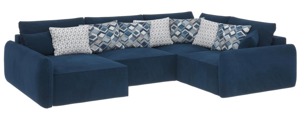 Модульный диван Портленд вариант №8 Soft тёмно-синий (Вел-флок, правый)