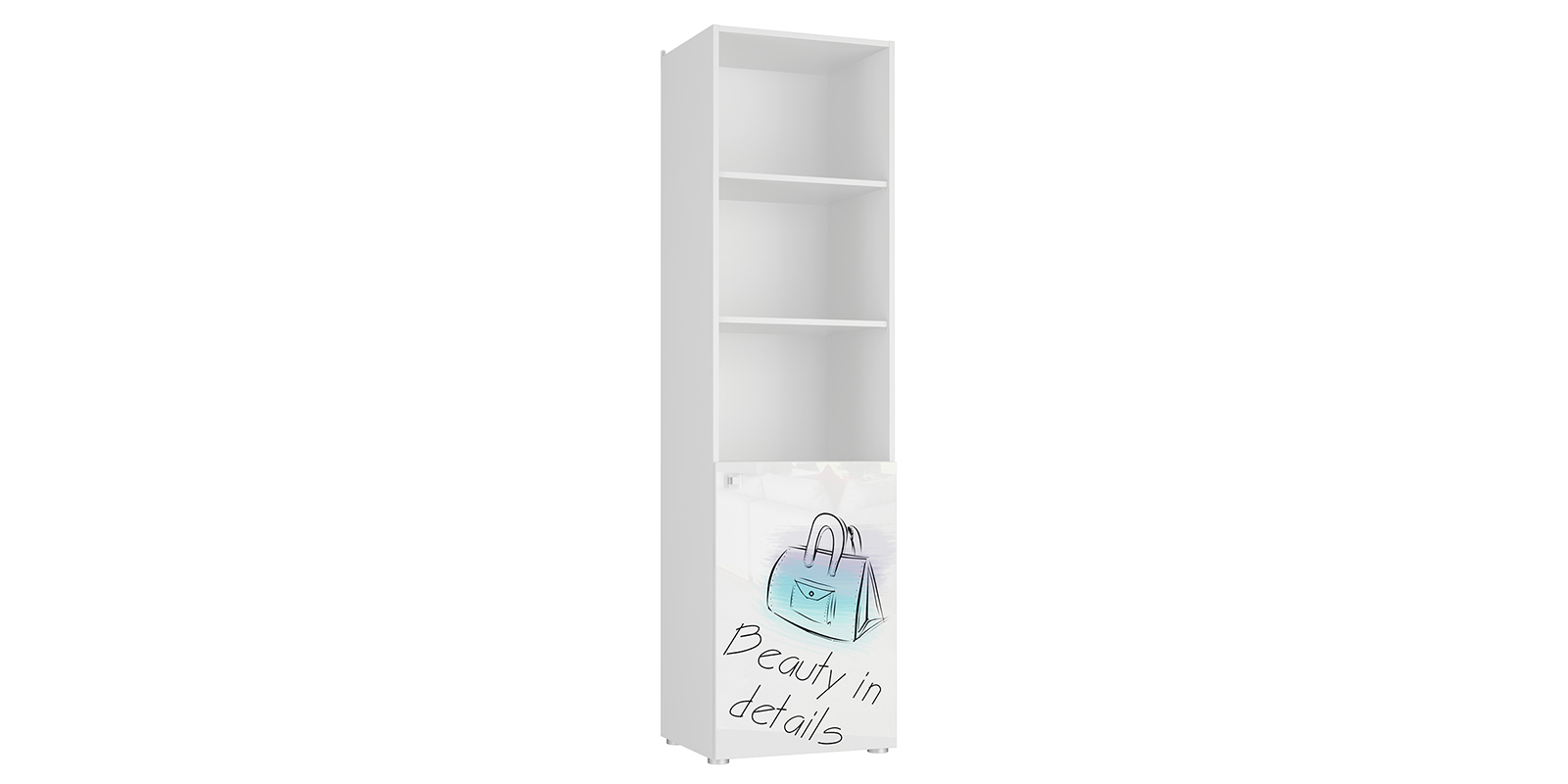 Шкаф распашной однодверный Мелисса вариант №3 (белый)