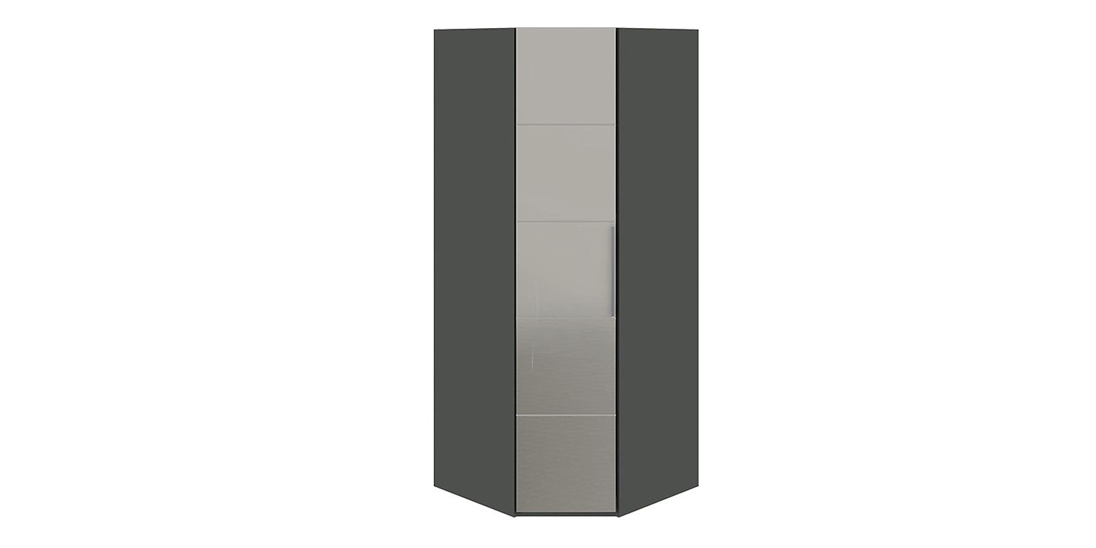 Шкаф распашной угловой Сорренто вариант №2 правый (коричневый/зеркало)