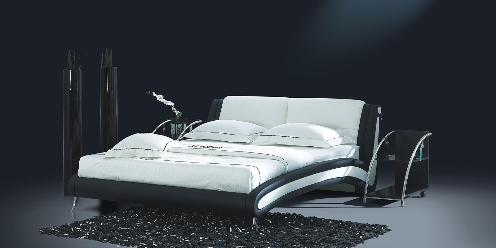 Мягкая кровать 200х180 AY-959 с ортопедическим основанием (черно-белый)
