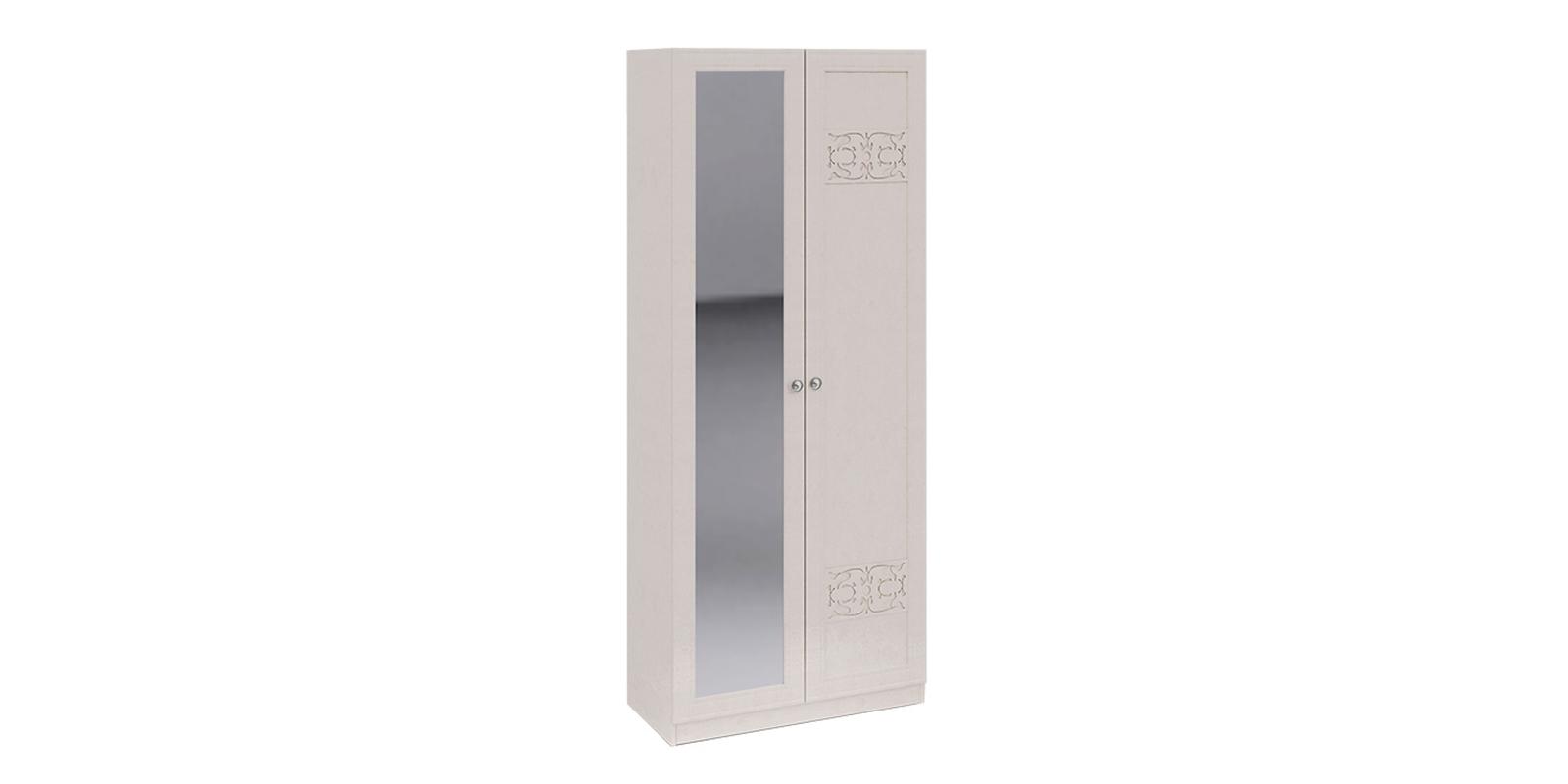 Шкаф распашной двухдверный Лацио вариант №4 (бежевый/зеркало)