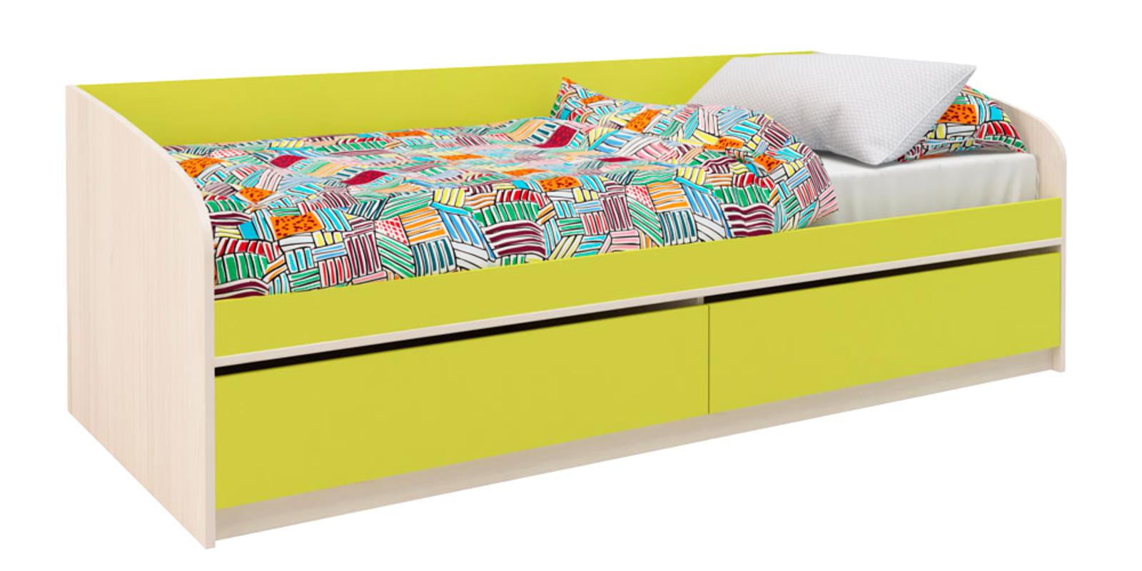 Кровать односпальная Салоу с 2-мя ящиками, без подъемного механизма (каттхилт/лайм)