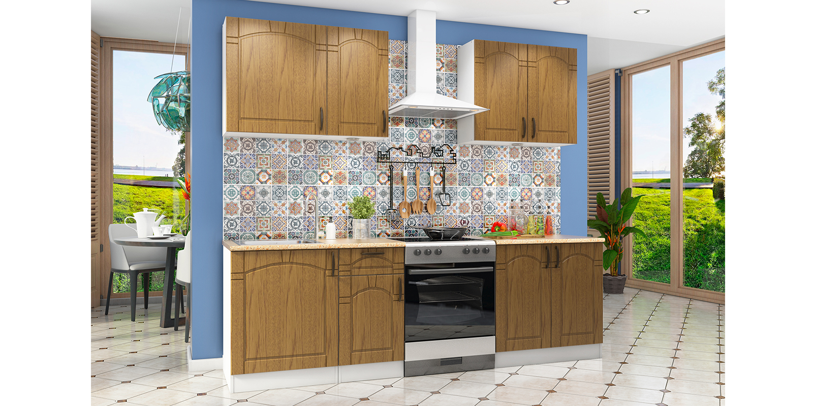 Модульная кухня Гавана (белый/дуб коричневый) от HomeMe.ru