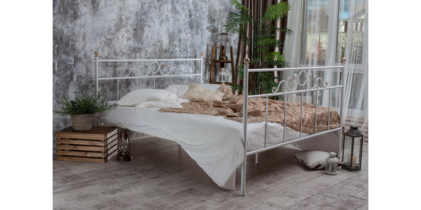 Металлическая кровать 140х200 Сандра с ортопедическим основанием (белый с золотом) S012/2-4