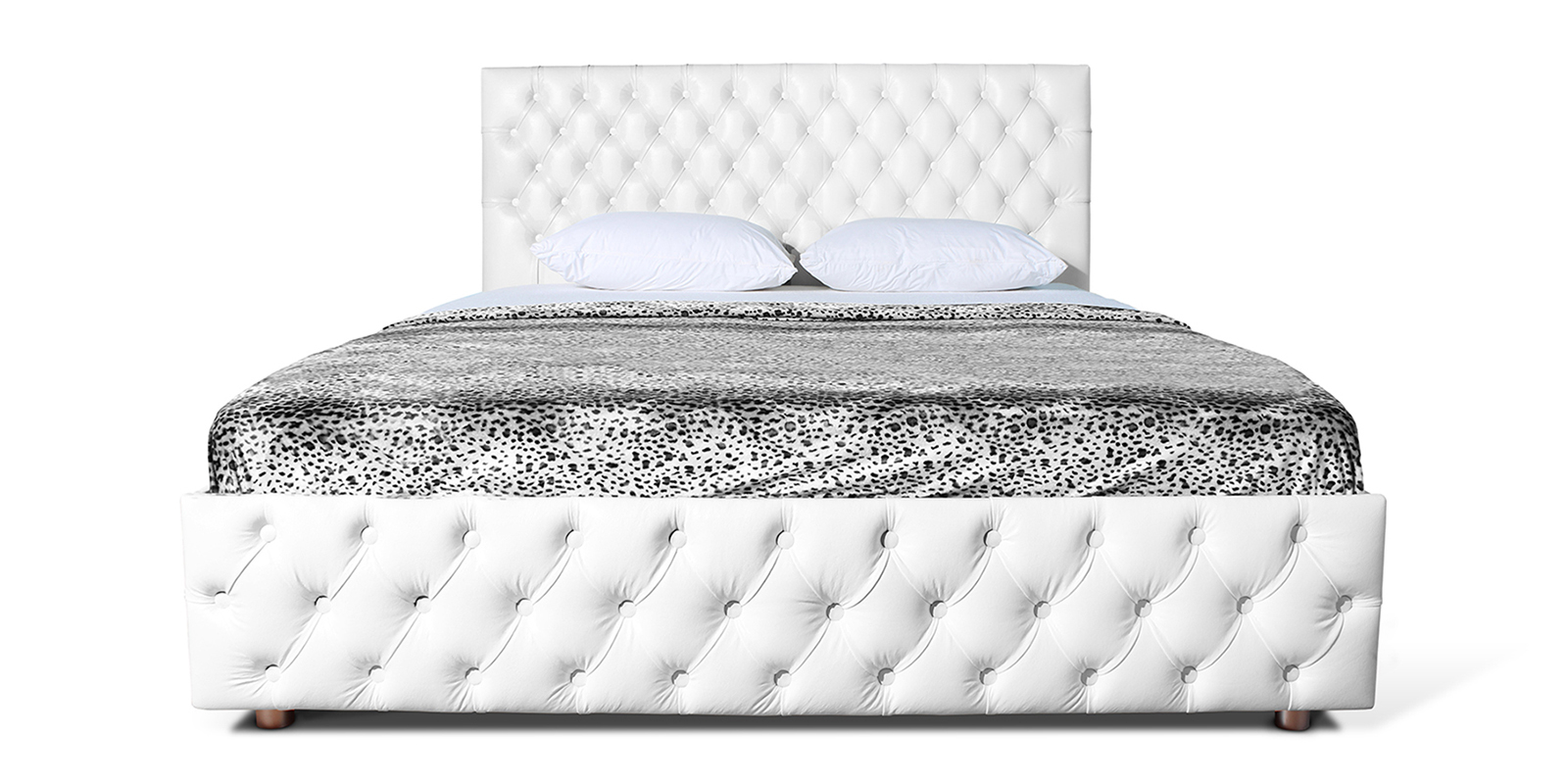 Мягкая кровать 200х160 Малибу вариант №4 с ортопедическим основанием (Белый)