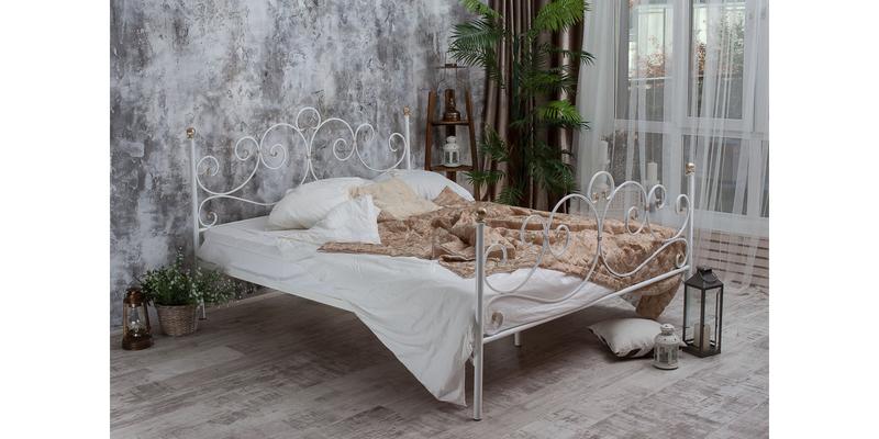 Металлическая кровать 180х200 Флоренция с ортопедическим основанием (белый с золотом) S014/2-8
