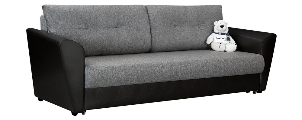 Диван тканевый прямой Амстердам Madagascar серый/черный (Рогожка + Экокожа)