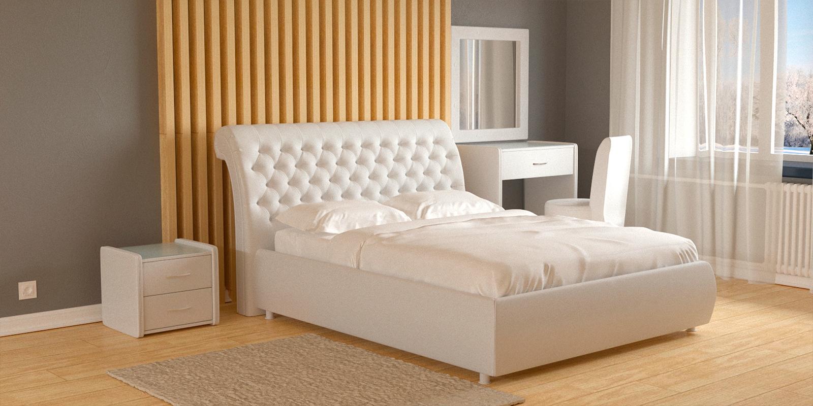 Мягкая кровать 200х160 Малибу вариант №6 с ортопедическим основанием (Белый)