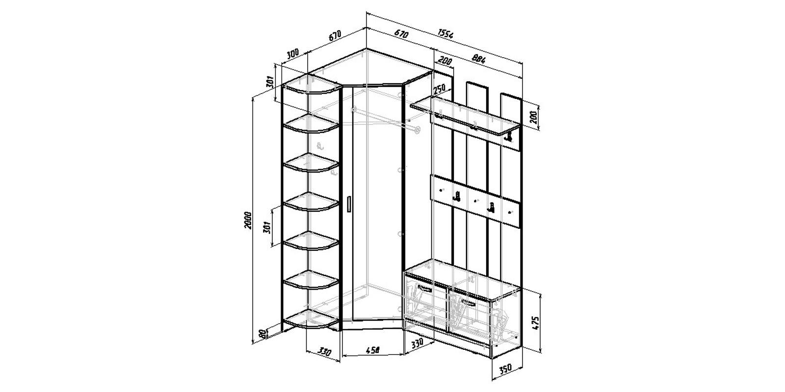 Модульная система Хельга вариант №8 (венге/дуб молочный)
