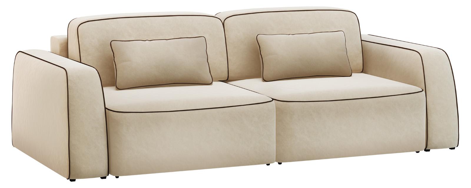 Модульный диван Портленд 200 см Вариант №1 Velure бежевый/темно-коричневый (Велюр)