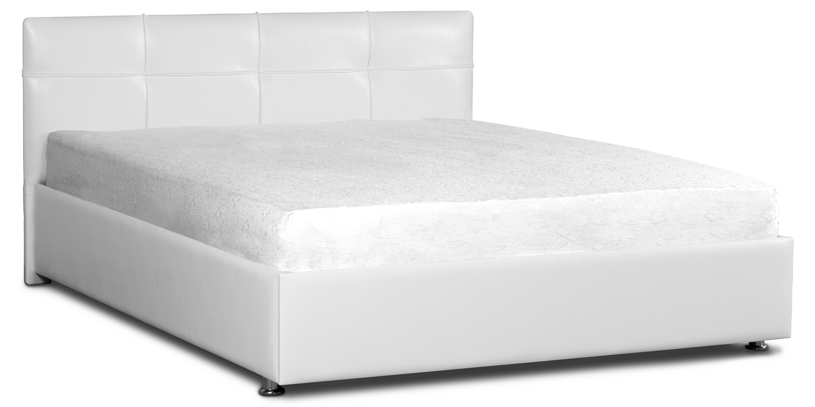 Мягкая кровать 200х160 Малибу вариант №10 с ортопедическим основанием (Белый)