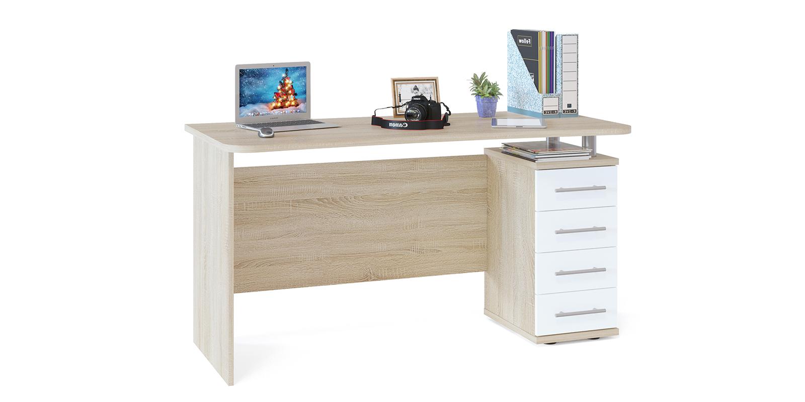Стол компьютерный Сноу вариант №2 (дуб сонома/белый) от HomeMe.ru