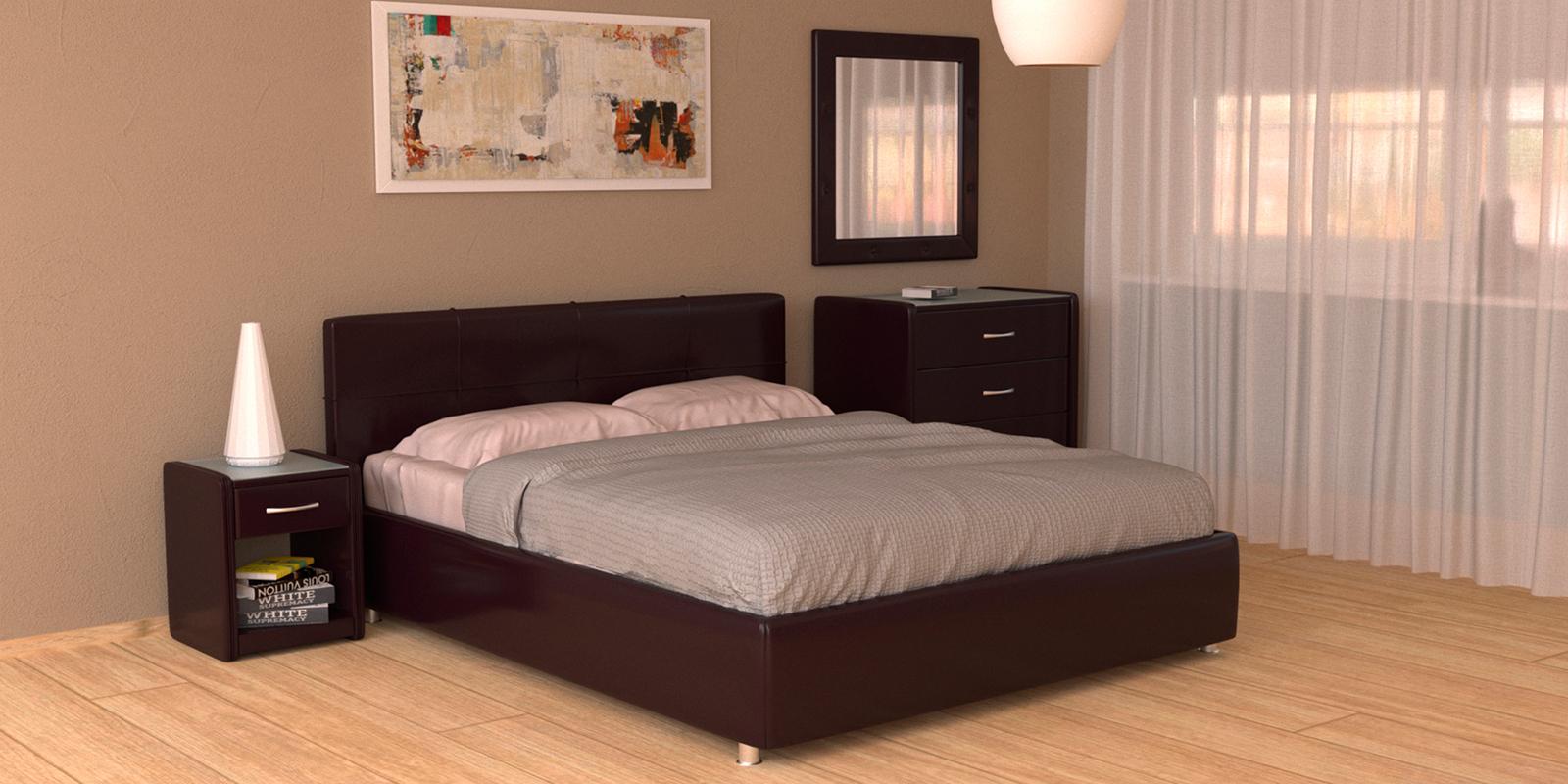 Мягкая кровать 200х160 Малибу вариант №10 с подъемным механизмом (Шоколад)